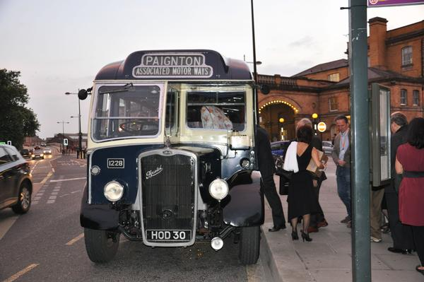 Vintage bus taking delegates to dinner at National Rail Museum.